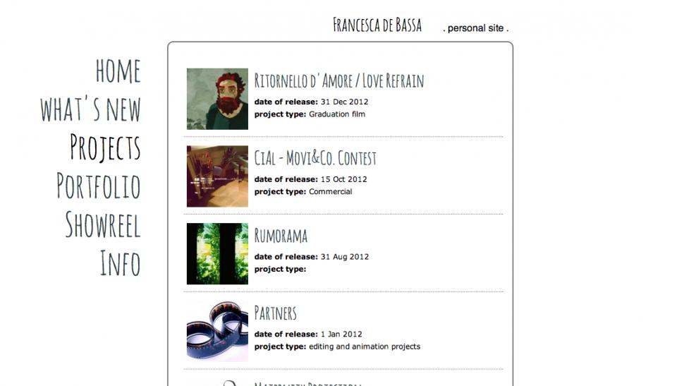 Francesca de Bassa – personal web site